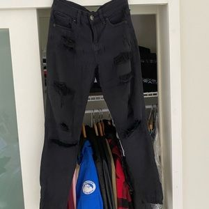 Express Black Distressed Jeans Size 0